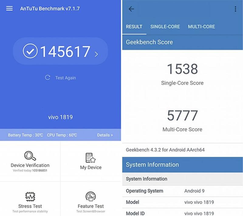 Điểm Antutu Benchmark trên điện thoại Vivo V15
