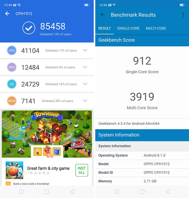 Điện thoại smartphone OPPO A5s | Điểm Antutu Benchmark
