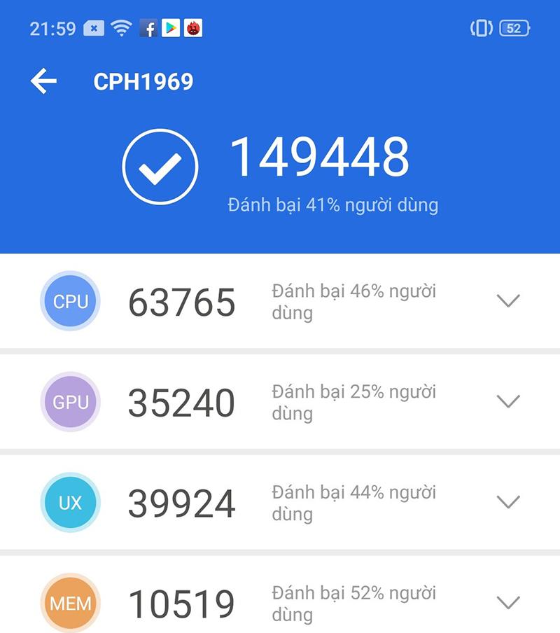 Điểm Antutu Benchmark của điện thoại OPPO F11 Pro 128GB chính hãng