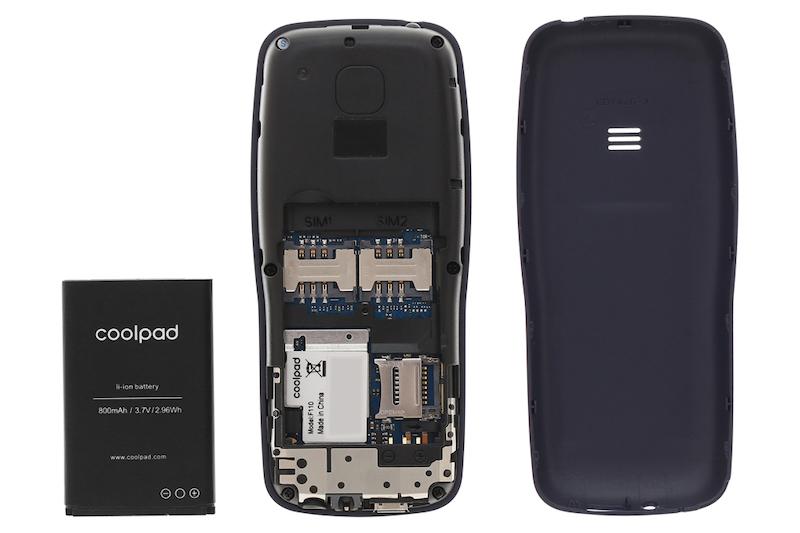 Điện thoại nghe gọi Coolpad F110 | Viên pin và khe sim