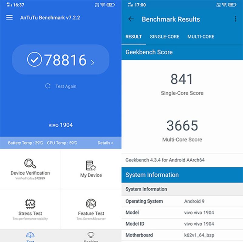 Điểm hiệu năng Antutu  Benchmark của điện thoại Vivo Y12 chính hãng