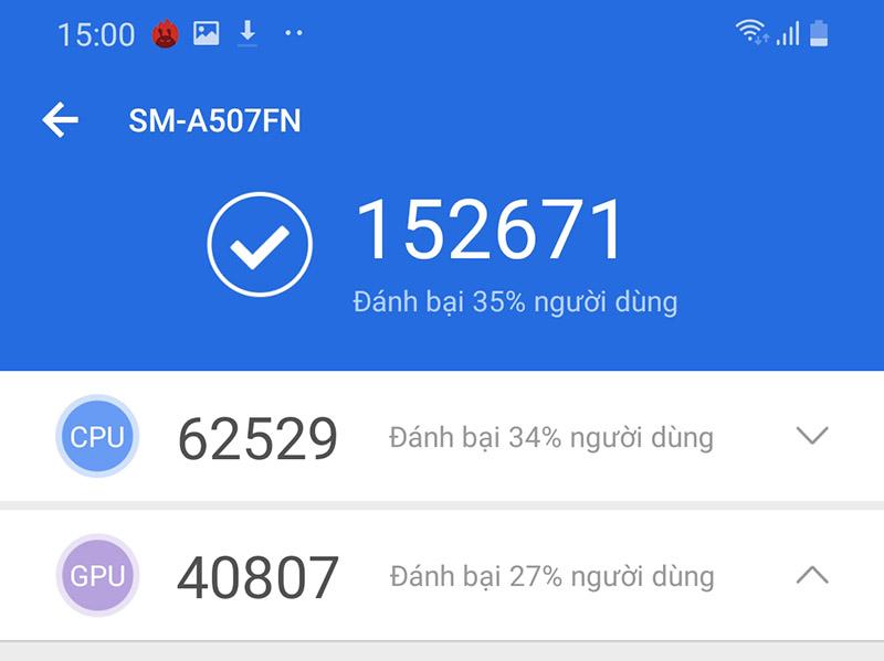 Điện thoại Samsung Galaxy A50s chính hãng | Điểm Antutu Benchmark