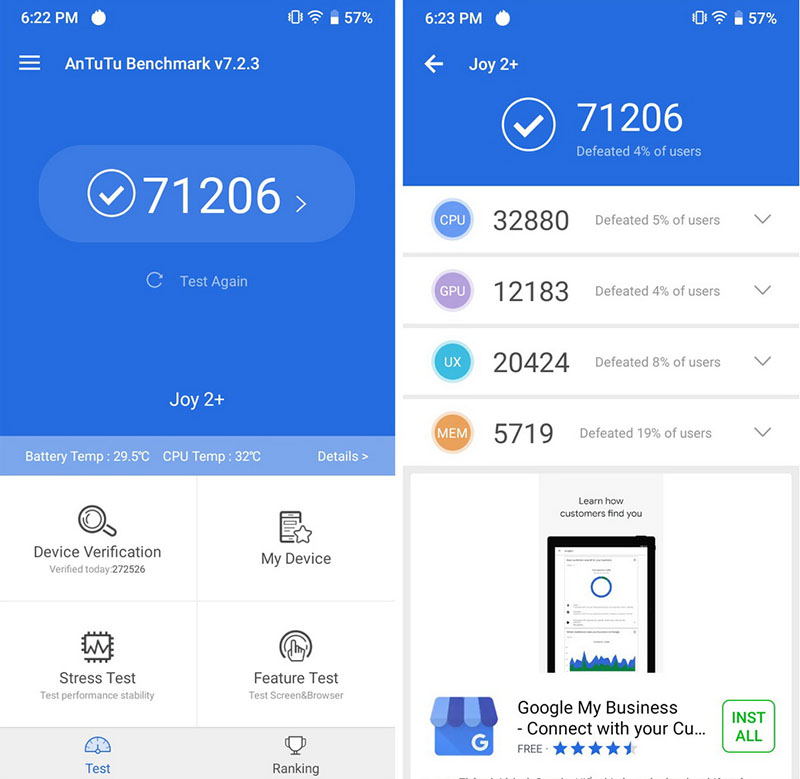 Điện thoại smartphone Vsmart Joy 2+ | Hiệu năng Antutu Benmark