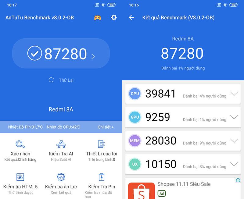 Xiaomi Redmi 8A | Điểm hiệu năng Antutu Benchmark