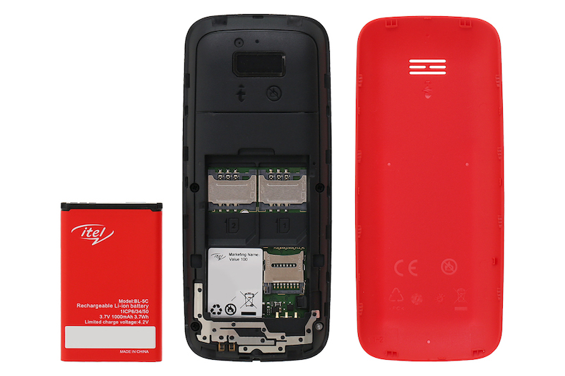 Điện thoại nghe gọi Itel Value 100 | Khe sim, pin, thẻ nhớ