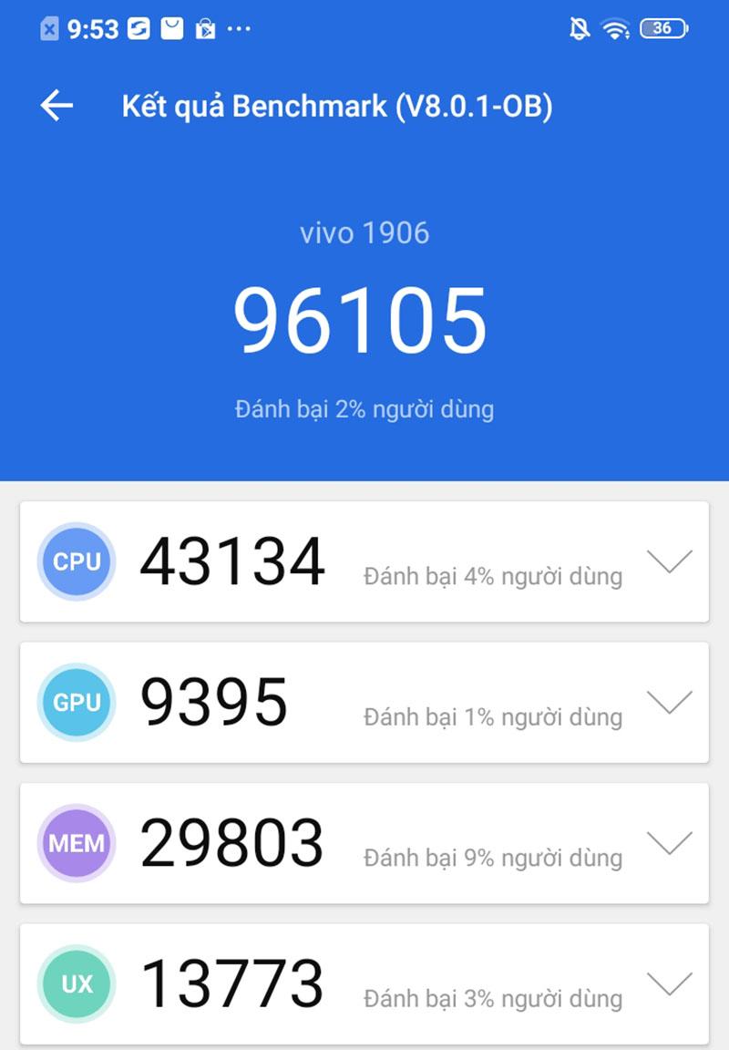 Điện thoại Vivo Y11 | Điểm hiệu năng Antutu Benchmark