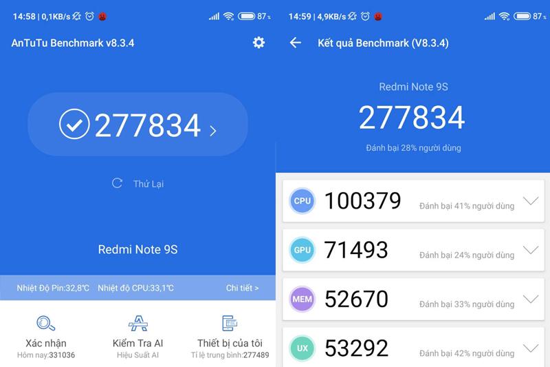 Hiệu năng của điện thoại Xiaomi Redmi Note 9s