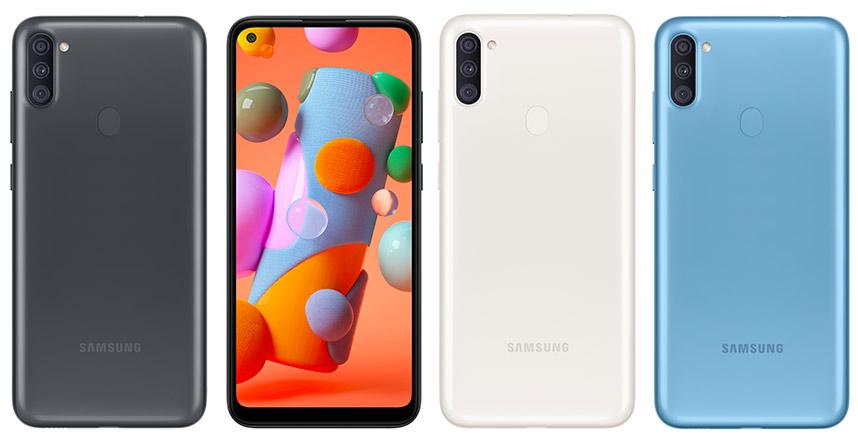 Điện thoại Galaxy A11 thiết kế nguyên khối chắc chắn với 3 lựa chọn màu