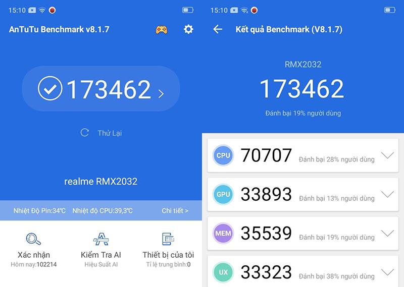 Điện thoại Realme 5i | Điểm hiệu năng Antutu Benchmark