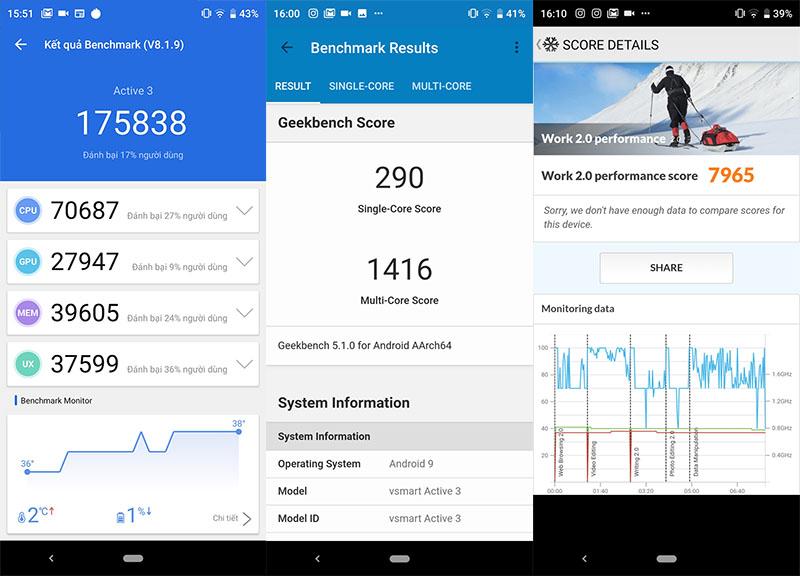 Điện thoại Vsmart Active 3 | Điểm hiệu năng antutu