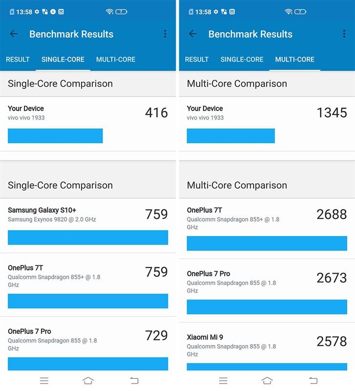 Điện thoại Vivo V19 | Đo hiệu năng CPU bằng phần mềm GeekBench 5