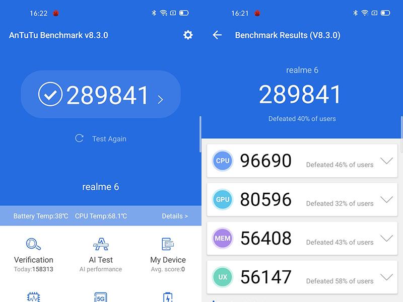 Điểm Antutu Benchmark trên điện thoại Realme 6