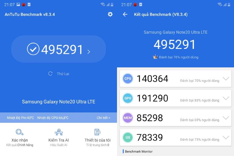 Điểm số AnTuTu cao ngất ngưỡng - Samsung Galaxy Note 20 Ultra