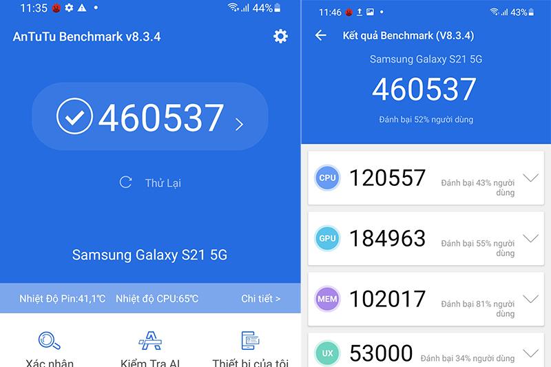 Samsung Galaxy S21 5G | Điểm Antutu