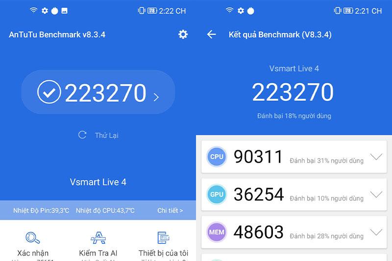 Vsmart Live 4 4GB đạt 223270 điểm Antutu