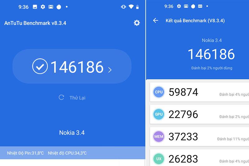Điểm Antutu | Nokia 3.4