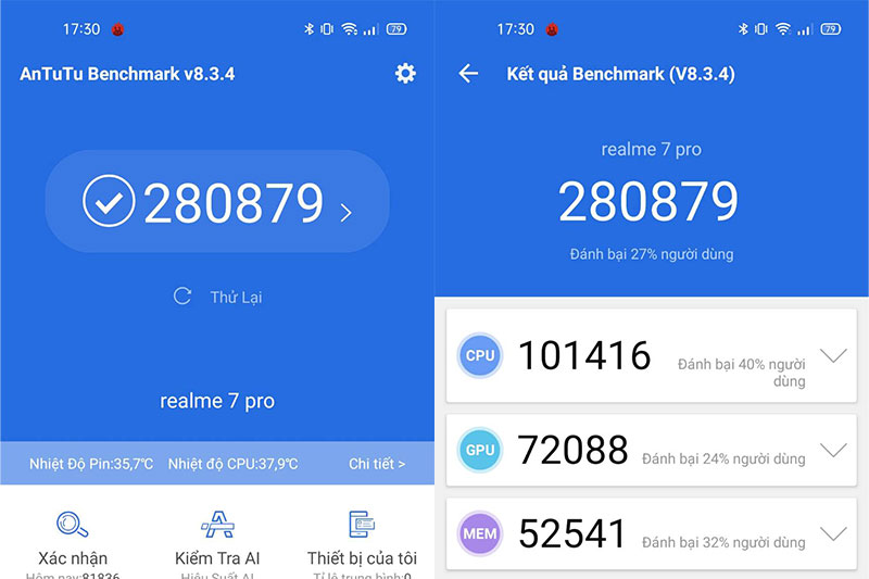 Điểm Antutu - Realme 7 Pro