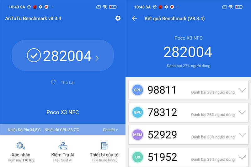 Điểm Antutu 282.004 điểm | Xiaomi POCO X3 NFC