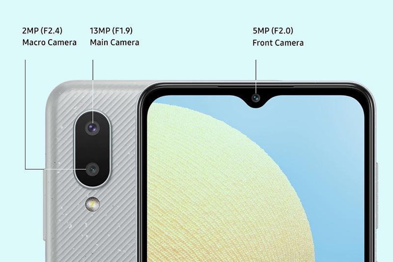 Samsung Galaxy A02 | Cụm camera kép gồm camera chính 13 MP và camera phụ 2 MP