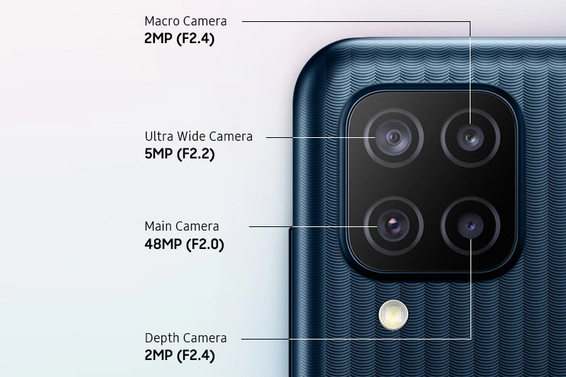 Samsung Galaxy M12 | Cụm camera hình vuông bo cong nổi bật
