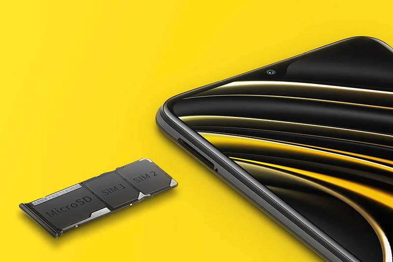 Xiaomi POCO M3 | RAM LPDDR4X 4 GB, bộ nhớ trong 128 GB, hỗ trợ thẻ nhớ microSD lên đến 512 GB