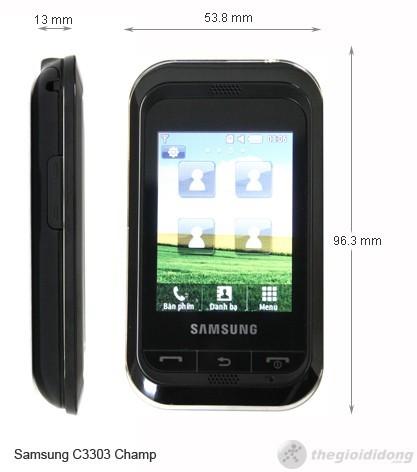 Kich thước của Samsung Champ C3303