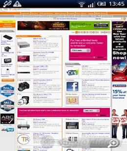 Giao diện duyệt web trên Sony Ericsson XPERIA X8