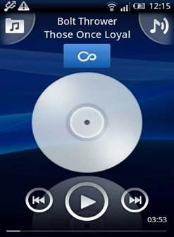 Giao diện ứng dụng chơi nhạc trên máy sony x8