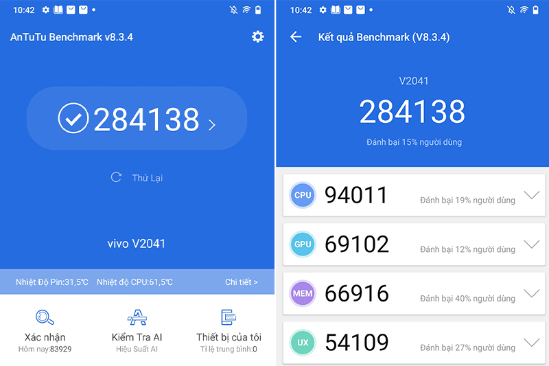 Điện thoại Vivo Y72 5G | Điểm số Antutu