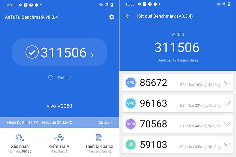 Vivo V21 5G | Điểm số Antutu