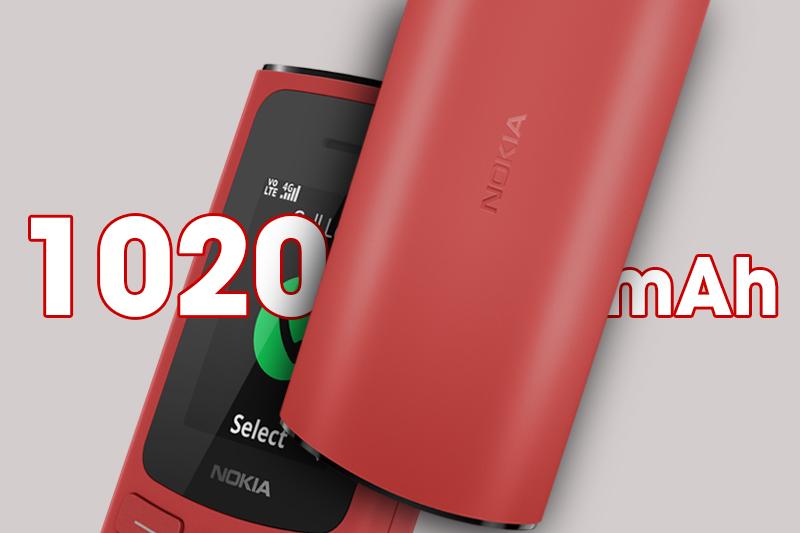 Trang bị viên pin 1020 mAh - Nokia 105 4G