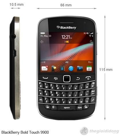 Kích thước Blackberry Bold Touch 9900