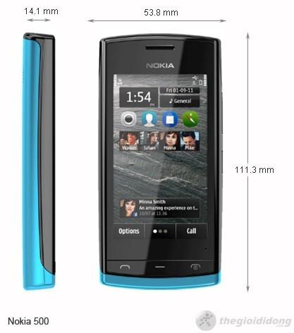 Kích thước của Nokia 500