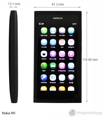 Kích thước Nokia N9