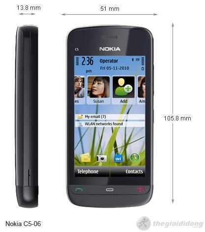 kích thước của Nokia C5-06