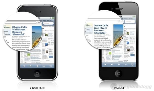 Hình ảnh hiển thị trên iPhone 4 vô cùng sắc nét