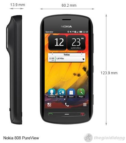 Kích thước Nokia 808 PureView