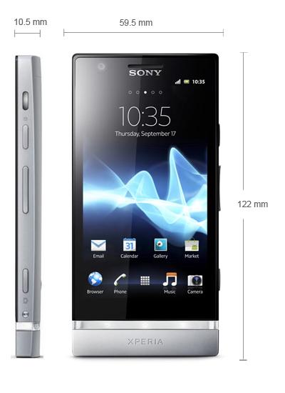 Kích thước Sony Xperia P