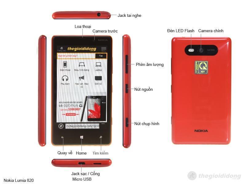 Mô tả chức năng của Nokia Lumia 820