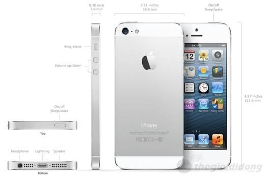 iPhone 5có thiết kế nguyên khối, được gia công rất tỉ mỉ