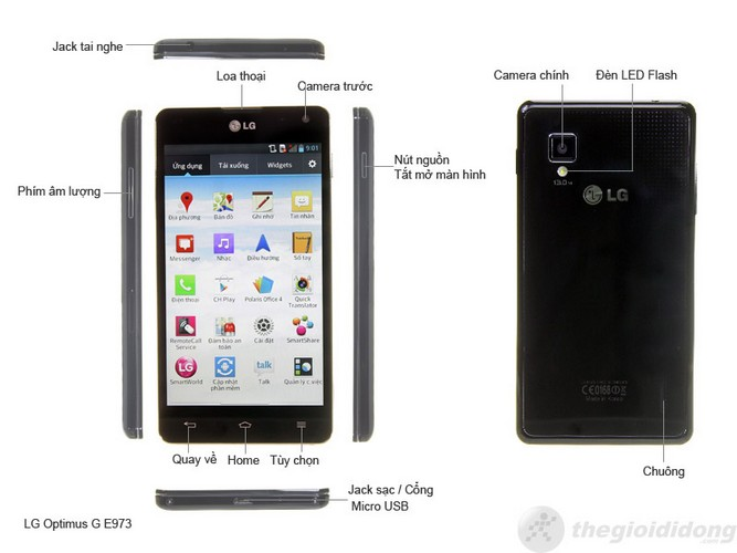 Mô tả chức năng của LG Optimus G E975