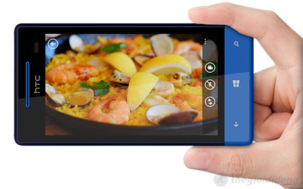 giao diện chụp ảnh trên HTC 8S