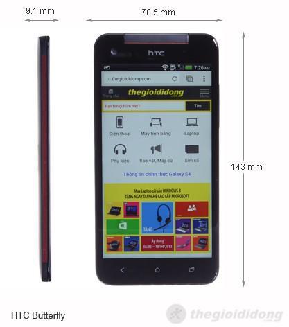 Kích thước của HTC Butterfly
