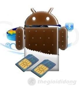 Máy  chạy trên nền Android ICS 4.0 với 2 sim 2 sóng