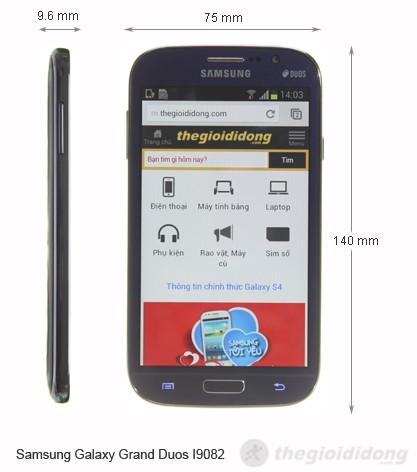 Kích thước của Samsung Galaxy Grand Duos I9082