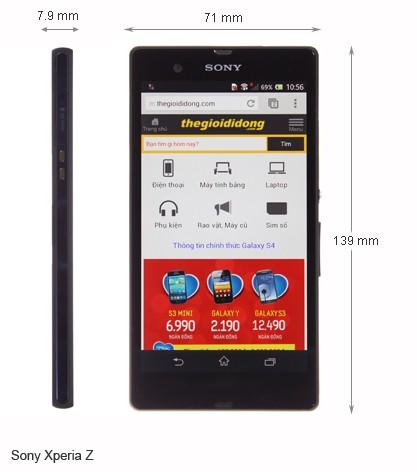 Kích thước của Sony Xperia Z