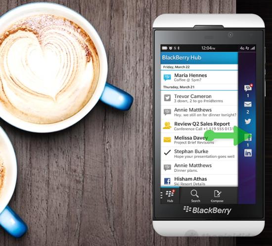 Lướt nhẹ để truy cập Blackberry Hub trên Blackberry Z10