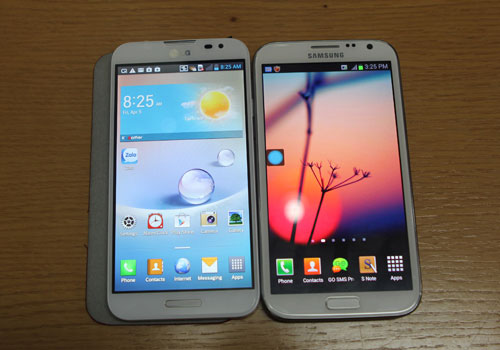 LG Optimus G Pro (trái) và Galaxy Note II (phải)