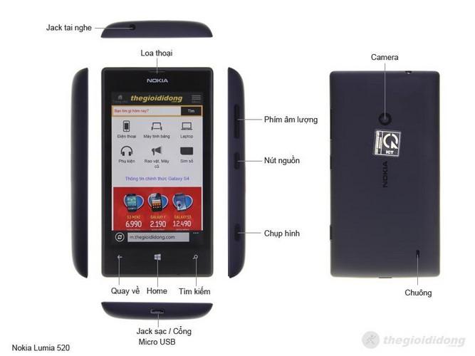 Mô tả chức năng của Nokia Lumia 520
