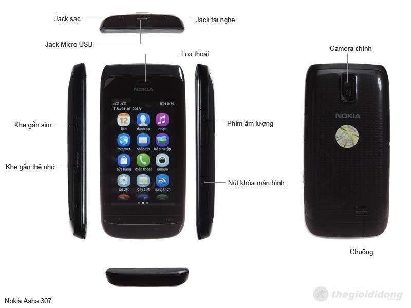 Mô tả chức năng của Nokia Asha 307